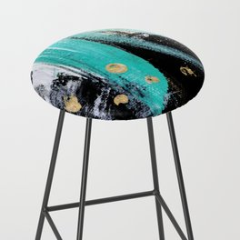 Fairy Dreams: an abstract mixed media piece in black, white, teal, and gold Bar Stool
