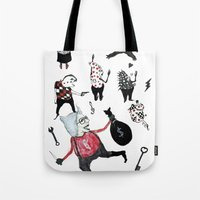 allyson johnson Tote Bags featuring Minis Johnson by Franck Chartron