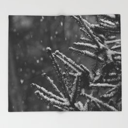 The Evergreen with Snow (Black and White) Throw Blanket
