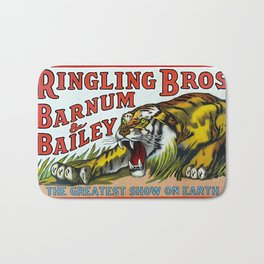 1938 Ringling Brothers and Barnum & Bailey Circus Tiger Act - Greatest Show on Earth Circus Poster Bath Mat