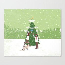 Decorating a tree Canvas Print