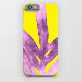 Green Fern on Bright Yellow Inverted iPhone Case