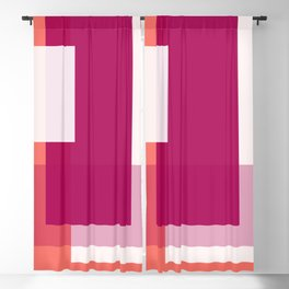 Living Coral + Raspberry   Pacifica Color Block Blackout Curtain