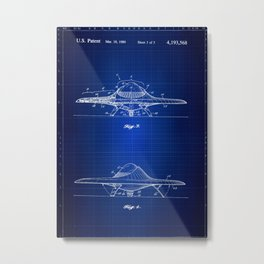 Real UFO Blueprint, Patent Wall Art, Outer Space, Fly Saucer Metal Print
