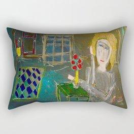 Alma Always Sits At Her Green Table Rectangular Pillow