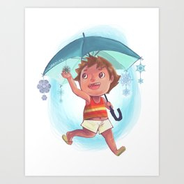 Snow Umbrella Art Print