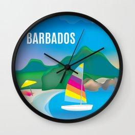 Barbados - Skyline Illustration by Loose Petals Wall Clock