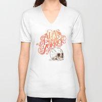 hamlet V-neck T-shirts featuring Hamlet Skull by Rachel Caldwell