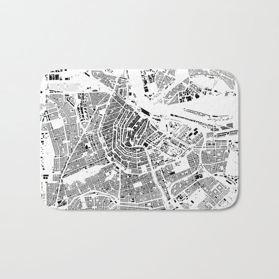 Amsterdam Map Schwarzplan Only Buildings Bath Mat