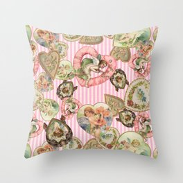Victorian Romantic  Heart Frames Toss in Vintage Pink + White Striped Paper Throw Pillow