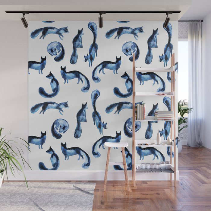 A pack of silver foxes. Wall Mural