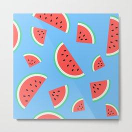Watermelon Summer Pattern - turquoise Metal Print
