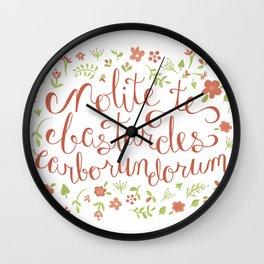 Don't Let the Bastards Grind You Down - Orange Floral Wall Clock