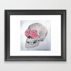 Floral Anatomy Skull Framed Art Print