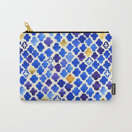 Rustic Watercolor Moroccan in Royal Blue & Gold Carry-All Pouch