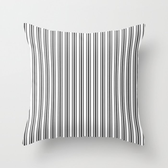 Large French Black And White Mattress Ticking Double Stripes Throw Pillow