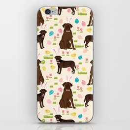 Chocolate Lab labrador retriever dog breed pet art easter pattern costume spring iPhone Skin