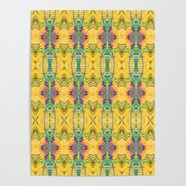 Vintage African Yellow Dynamic Pattern Poster