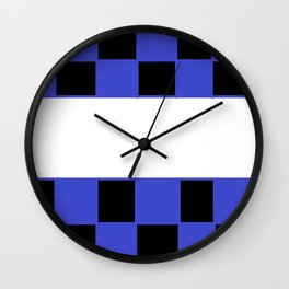 Black and blue chess board Wall Clock