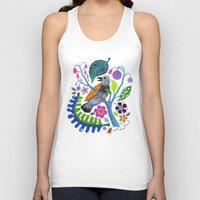 botanical Tank Tops featuring Bird Botanical by Janna Morton