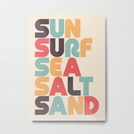 Sun Surf Sea Salt Sand Typography - Retro Rainbow Metal Print