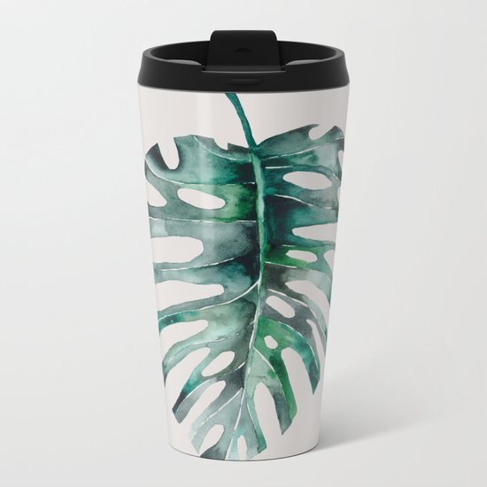 Monstera Leaf Metal Travel Mug