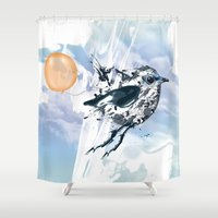 freedom Shower Curtains featuring Freedom by Cemile Pecquet