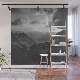 Valley - black and white landscape photography Wall Mural