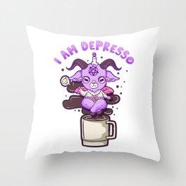 I Am Depresso - Cute Anime Kawaii Baphomet T-Shirt Throw Pillow