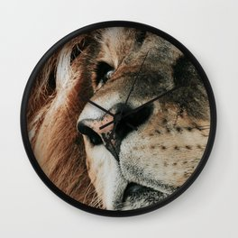 African lion portrait Wall Clock
