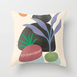 Rocks and plants Throw Pillow