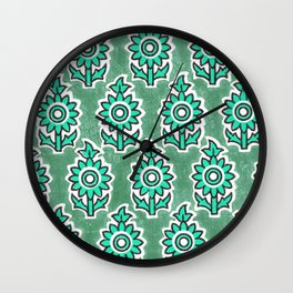 Indian Lucite Green Wall Clock