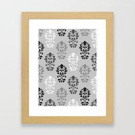 Heart Damask Art I Ptn Black White Greys Framed Art Print