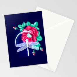 Full bloom | Dragonfly loves roses Stationery Cards