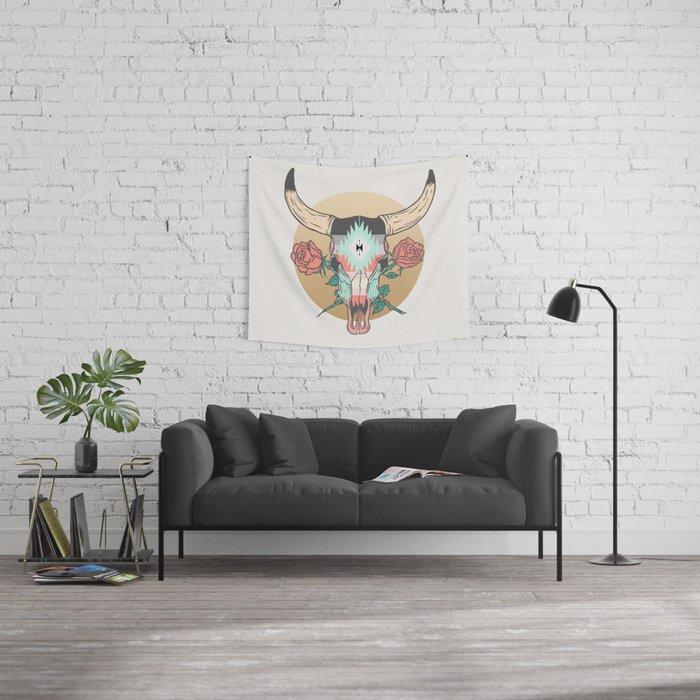 cráneo de vaca Wall Tapestry