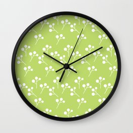 Modern abstract lime green white geometric floral Wall Clock