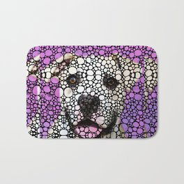 Pit Bull Stone Rock'd Art By Sharon Cummings Bath Mat