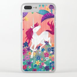 Floral Frolic Unicorn Clear iPhone Case