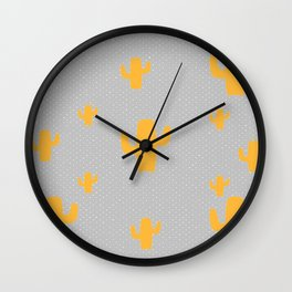 Mustard Cactus White Poka Dots in Gray Background Pattern Wall Clock