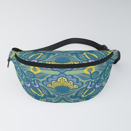 Blue Vines and Folk Art Flowers Pattern Fanny Pack