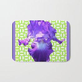 Decorative  Purple Iris Lime Green Optical Pattern Art Bath Mat