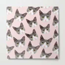 girly cute pink pattern snowshoe cat Metal Print