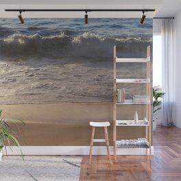 Wave At Sunset With Gold Sand Wall Mural