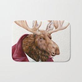 Moose in Maroon Bath Mat