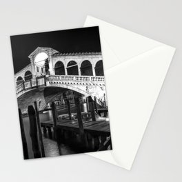VENICE Rialto Bridge at Night | Monochrome Stationery Cards