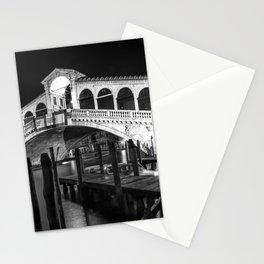 VENICE Rialto Bridge at Night | Monochrome Stationery Cards
