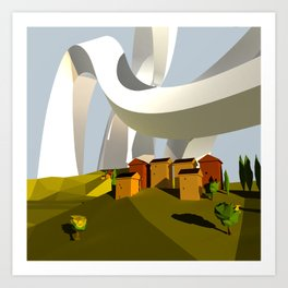 They Swooped Over The Houses Art Print