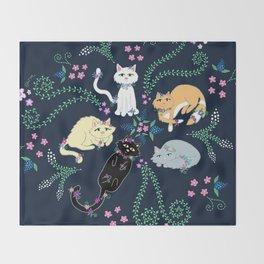 Garden Kitties Throw Blanket