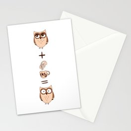 Cute owls with coffee Stationery Cards