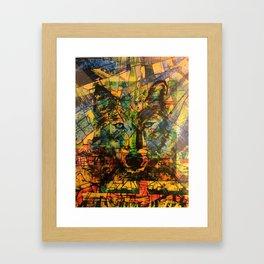 Wolf Stylized Blue/Green/Yellow Framed Art Print